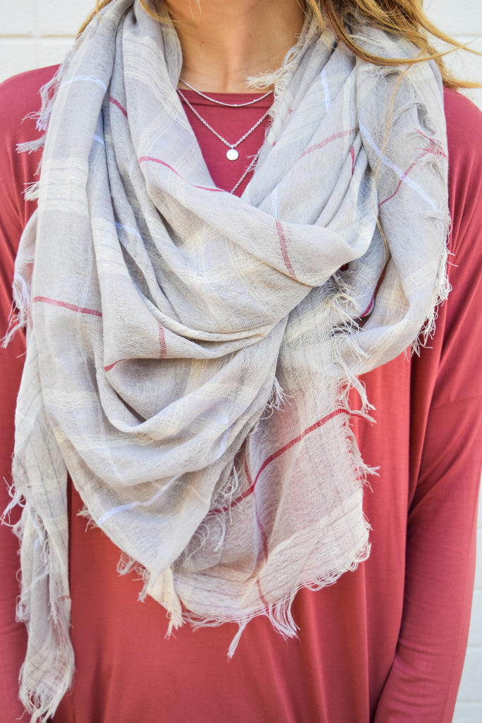 Affordable Online Pretty in Plaid Scarf Beige