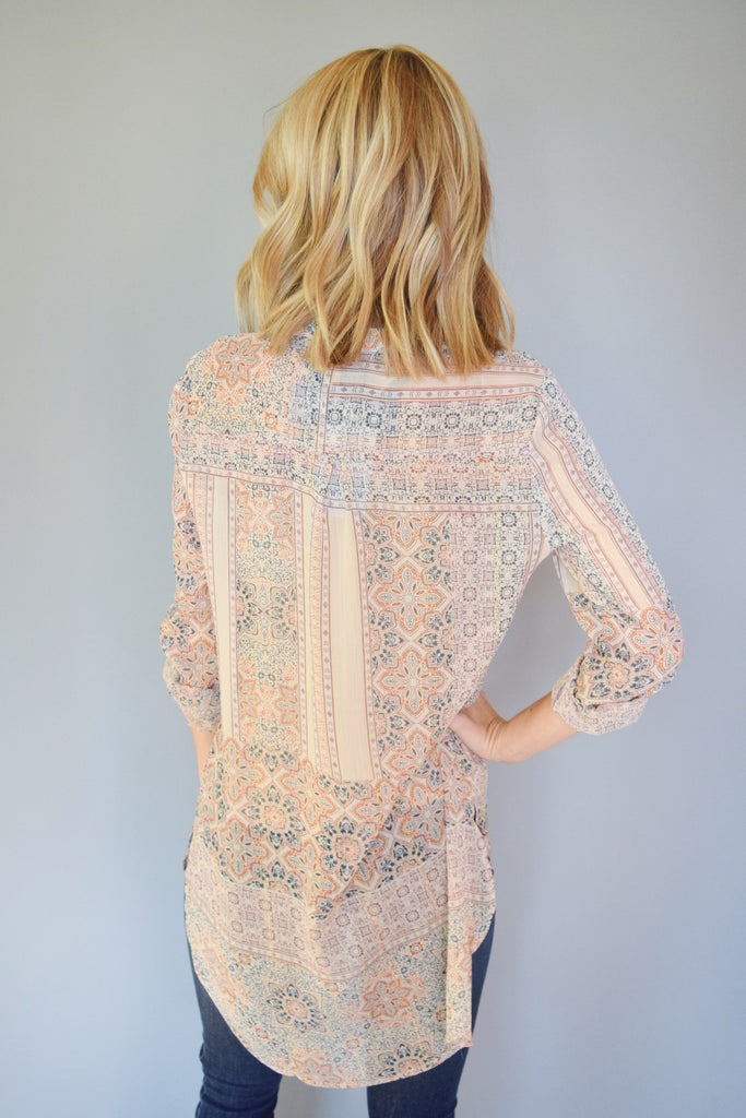 Womens Clothing tapestry printed chiffon tunic