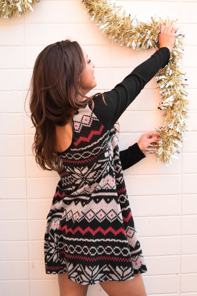 Cute Online falling snowflakes sweater tunic