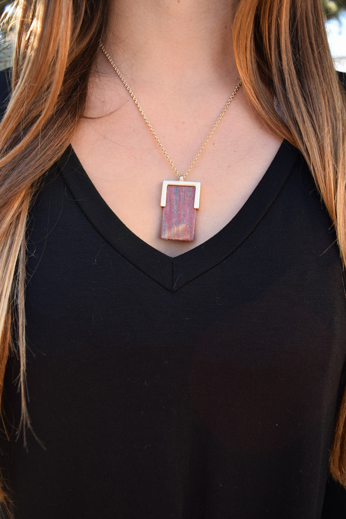 Cute Online square stone necklace rust