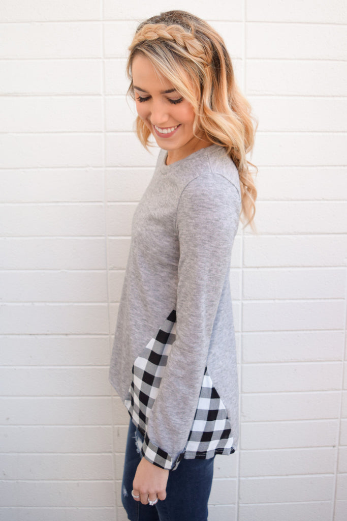 Cute Online mountain peak plaid detail top