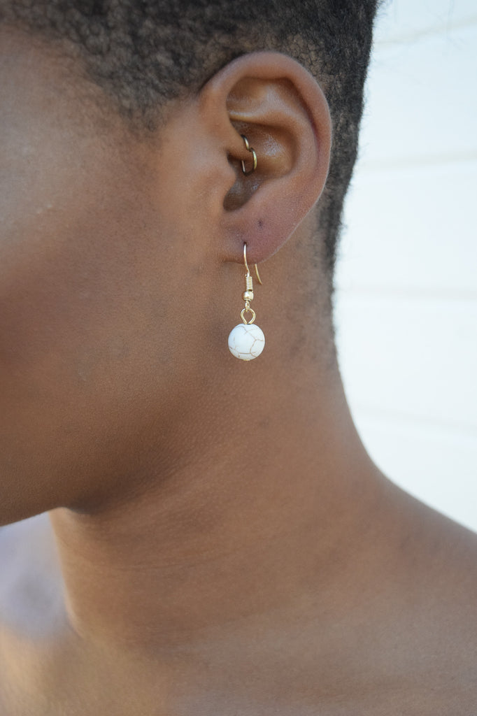 Bead Earring In White