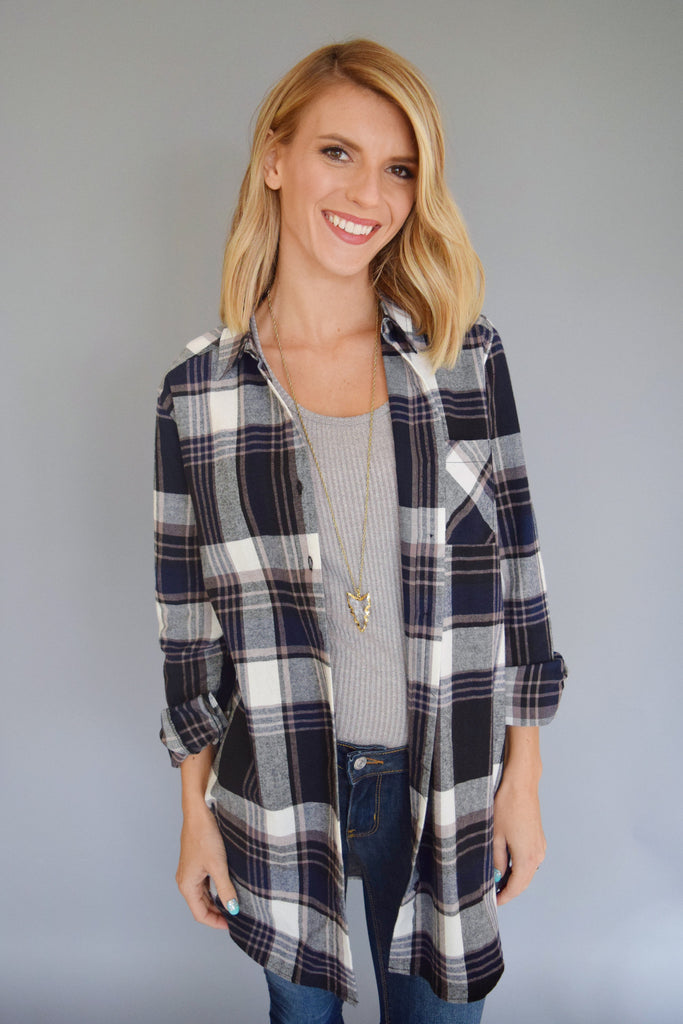Womens Boutique mountain town flannel top