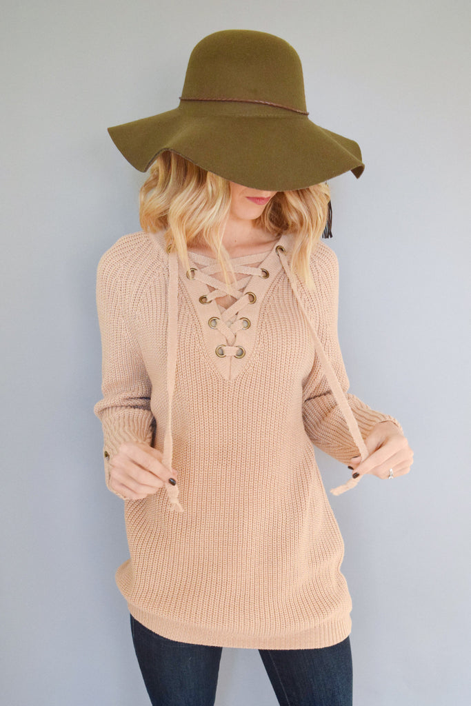 Chic evergreen lace up sweater beige