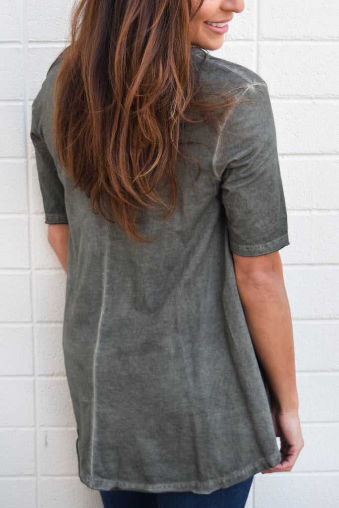 Colorado Chic mountain weekend oversized tee shirt olive