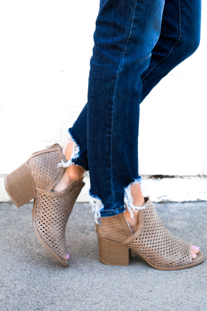 Soho Peep Toe Bootie In Taupe