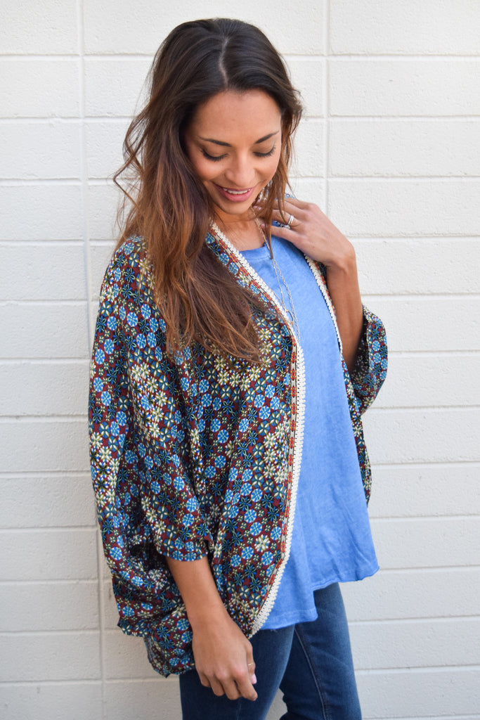 Cute Online medallion printed kimono olive