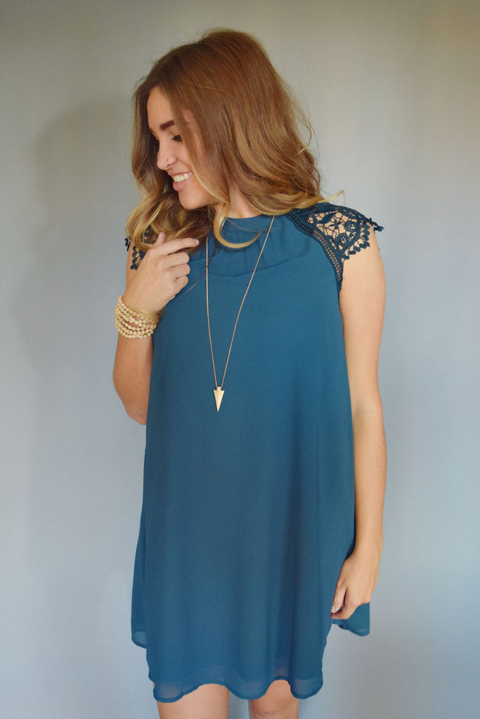 Trendy Online lace cap sleeve dress teal