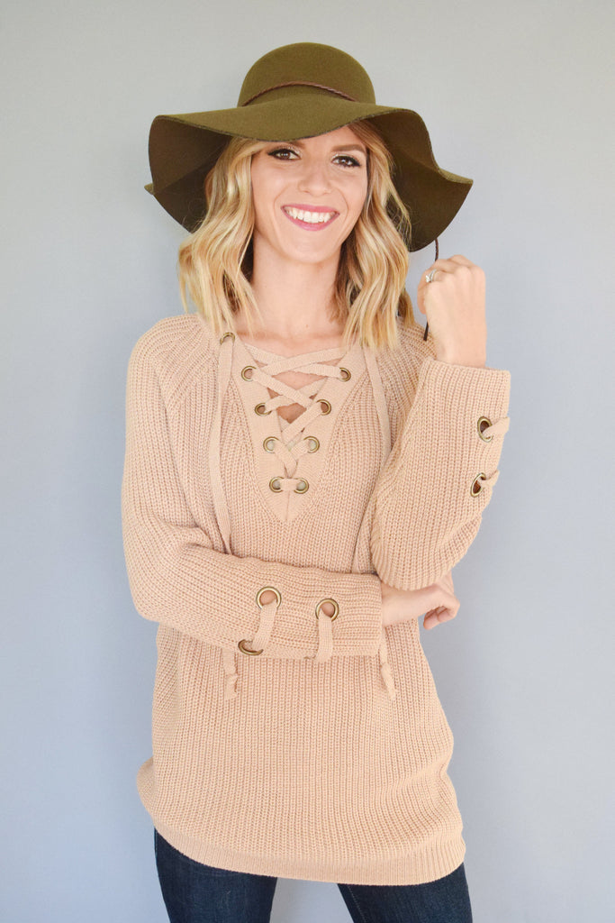 Colorado Chic evergreen lace up sweater beige