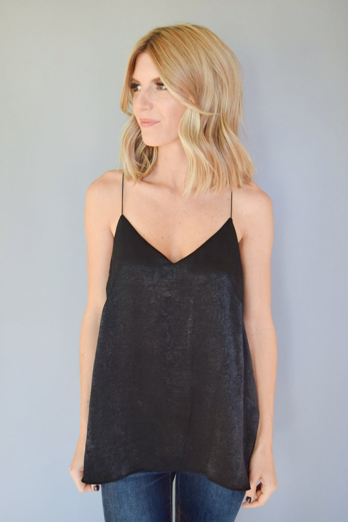 Womens Clothing Holiday Party Satin Tank Black