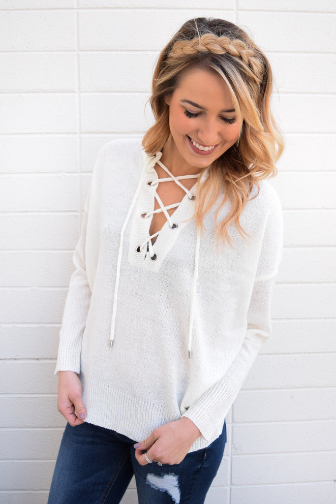 Chic Mountain Mist Lace Up Top