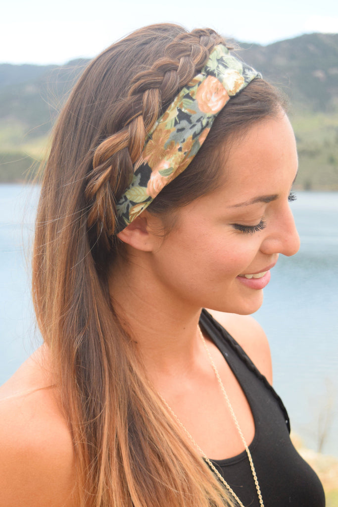 Chic Printed Black Twist Headband