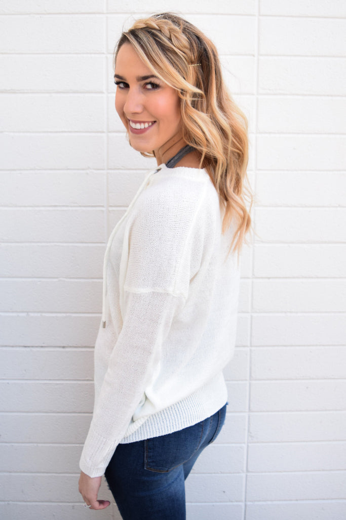 Colorado Chic mountain mist lace up top