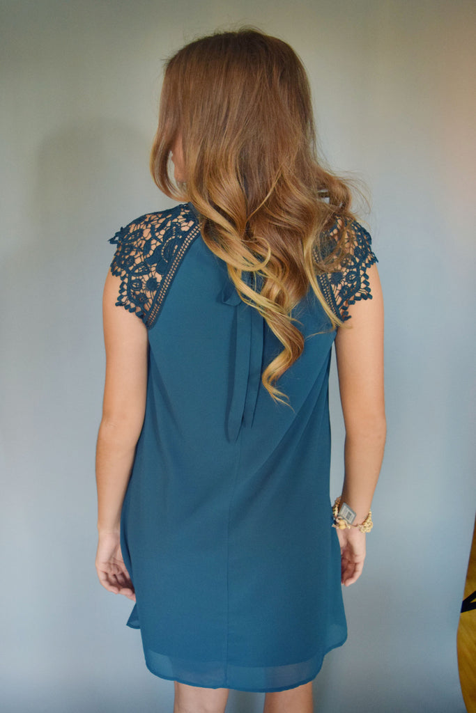 Cute Online lace cap sleeve dress teal