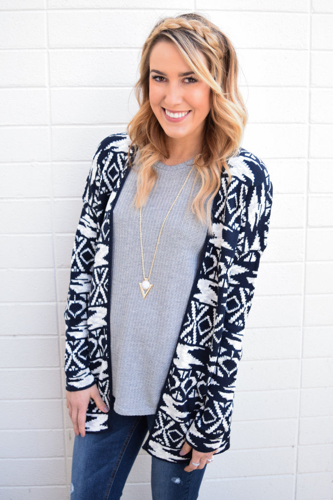 Trendy Wildest Dreams Printed Cardigan Navy