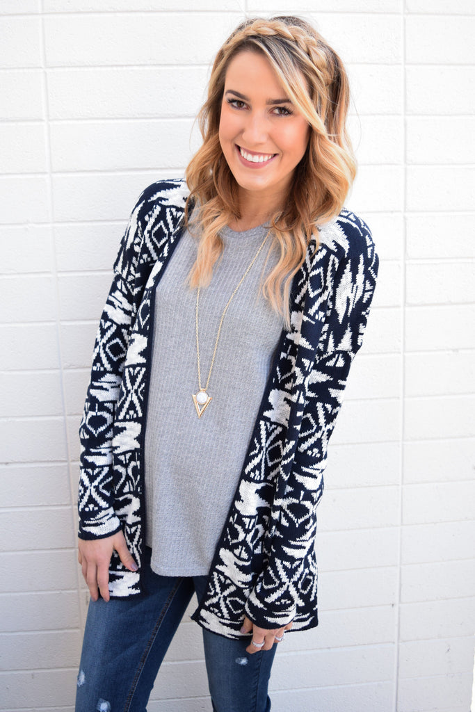 Cute wildest dreams printed cardigan navy