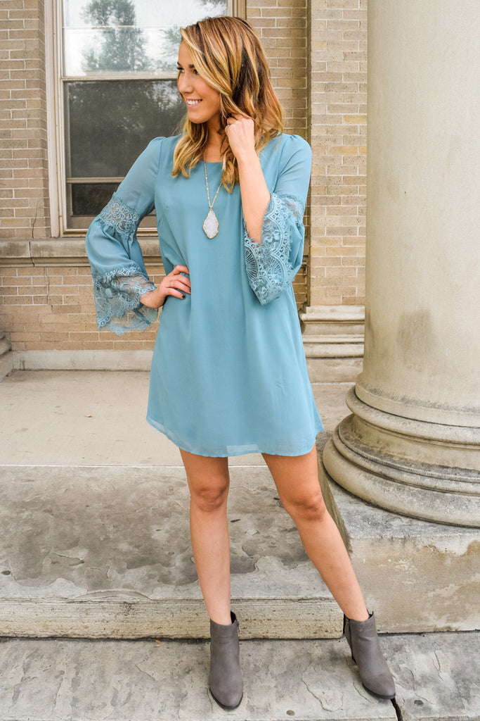 Affordable Lace & Bell Sleeve Dress