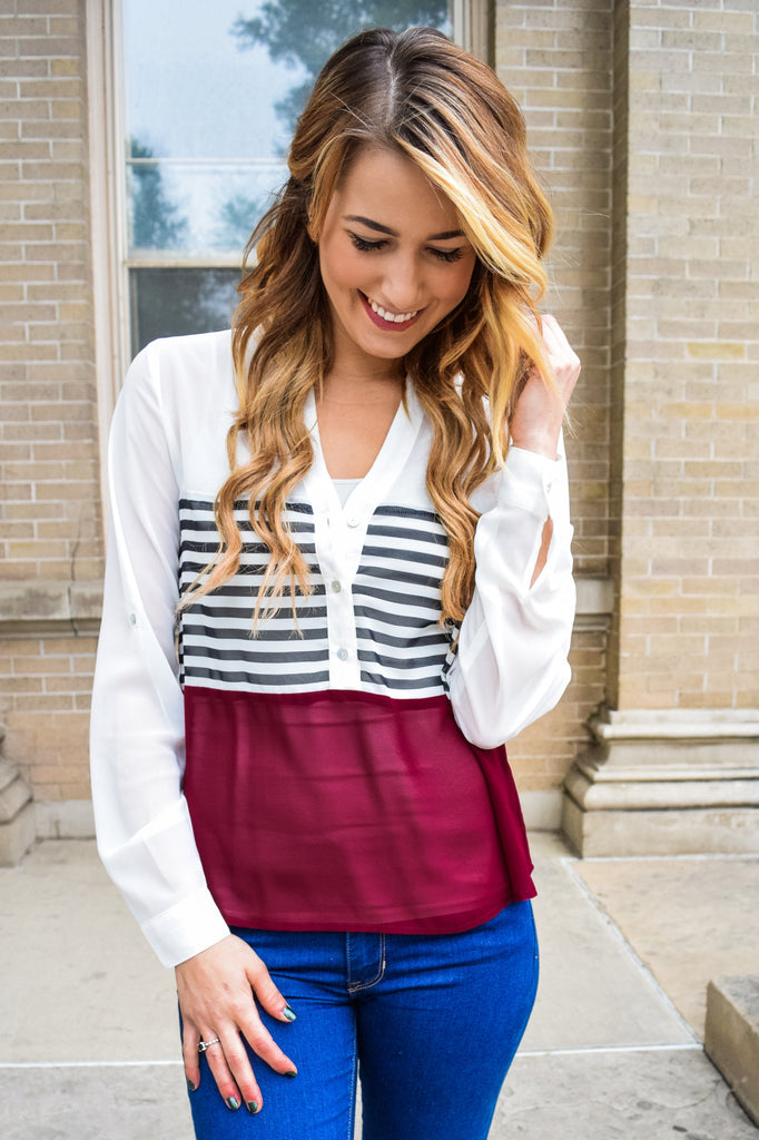 Cute Online solids and stripes top
