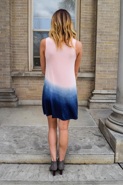 Trendy into the deep blue ombre dress