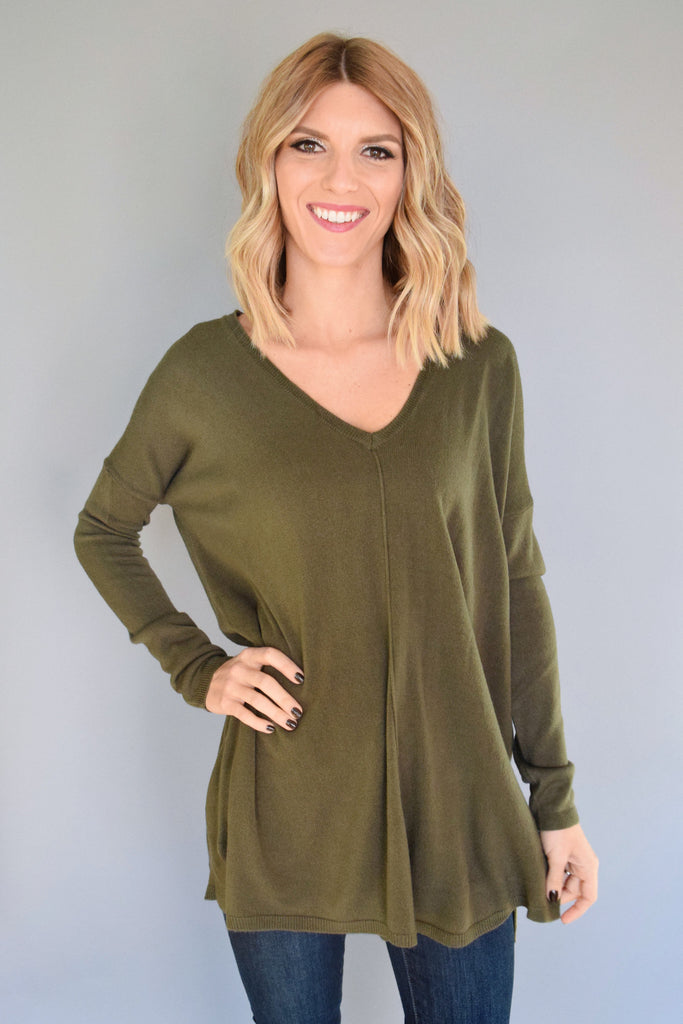 Trendy essential v neck sweater top olive