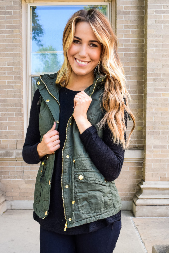 Affordable Online Faux Fur Lined Cargo Vest Olive