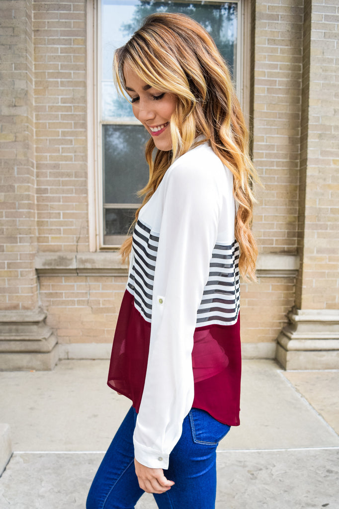Cute Solids And Stripes Top