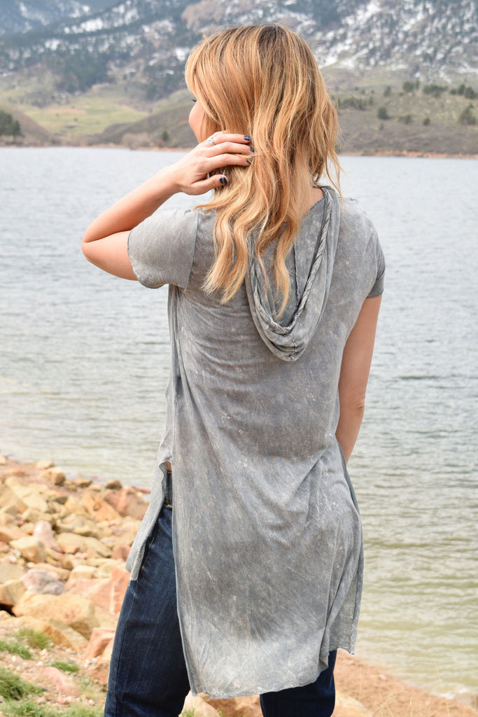 Cute Online coastal washed hoodie grey