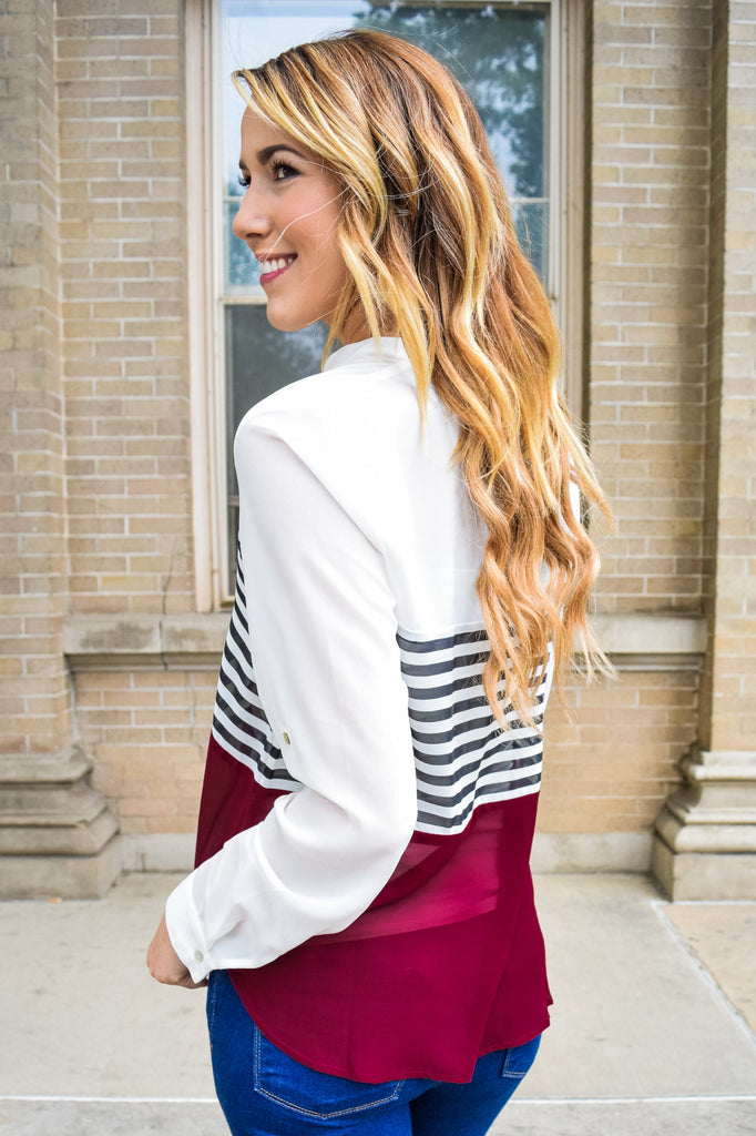 Trendy Online solids and stripes top