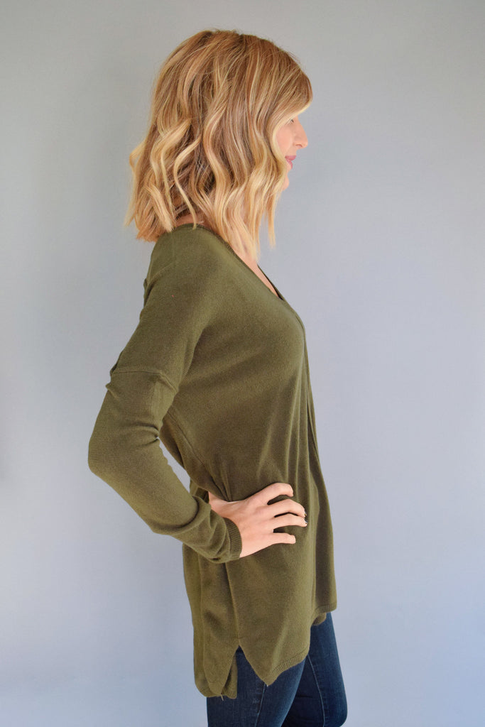 Womens Online essential v neck sweater top olive