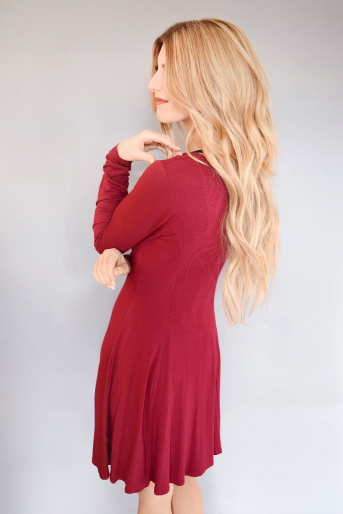 Trendy Online long sleeve flare dress burgundy