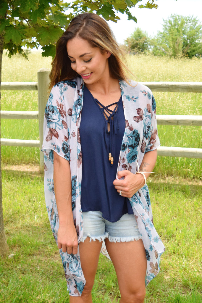 Cute Forest Trail Lace Up Top Navy