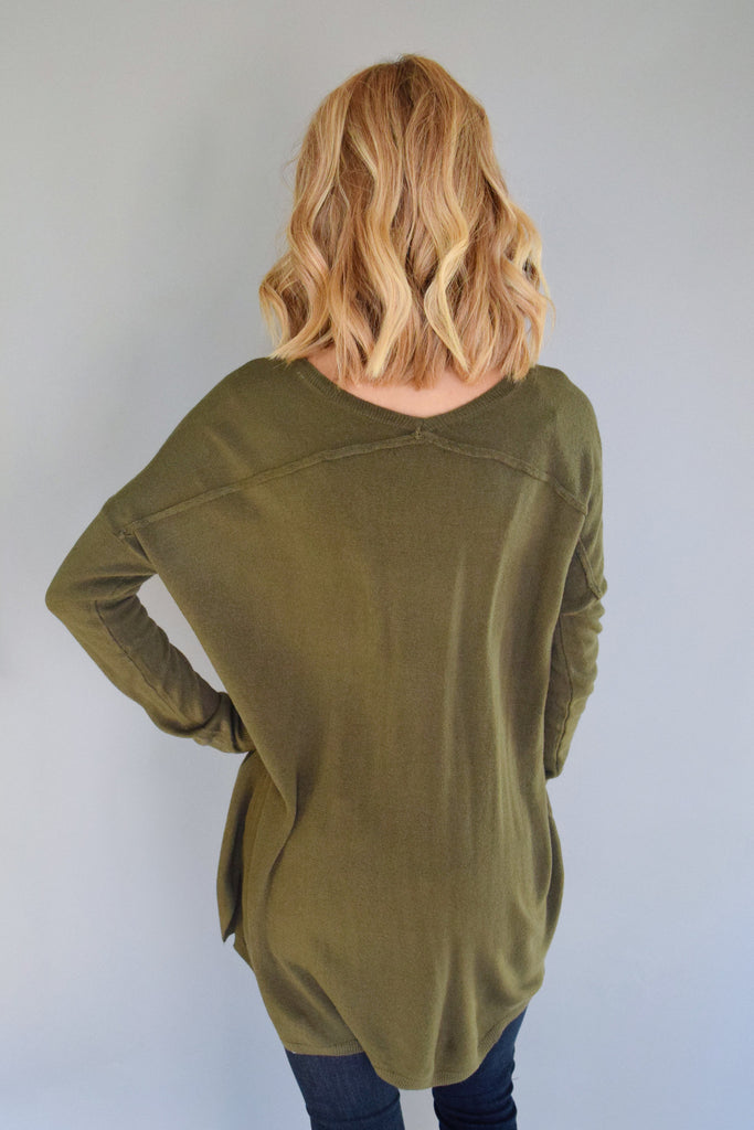 Cute essential v neck sweater top olive