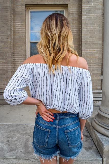 Colorado Chic striped off the shoulder crop top