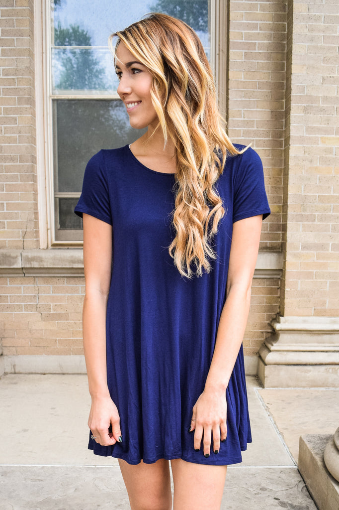 Womens Online Streets of Rome Simple Navy Dress