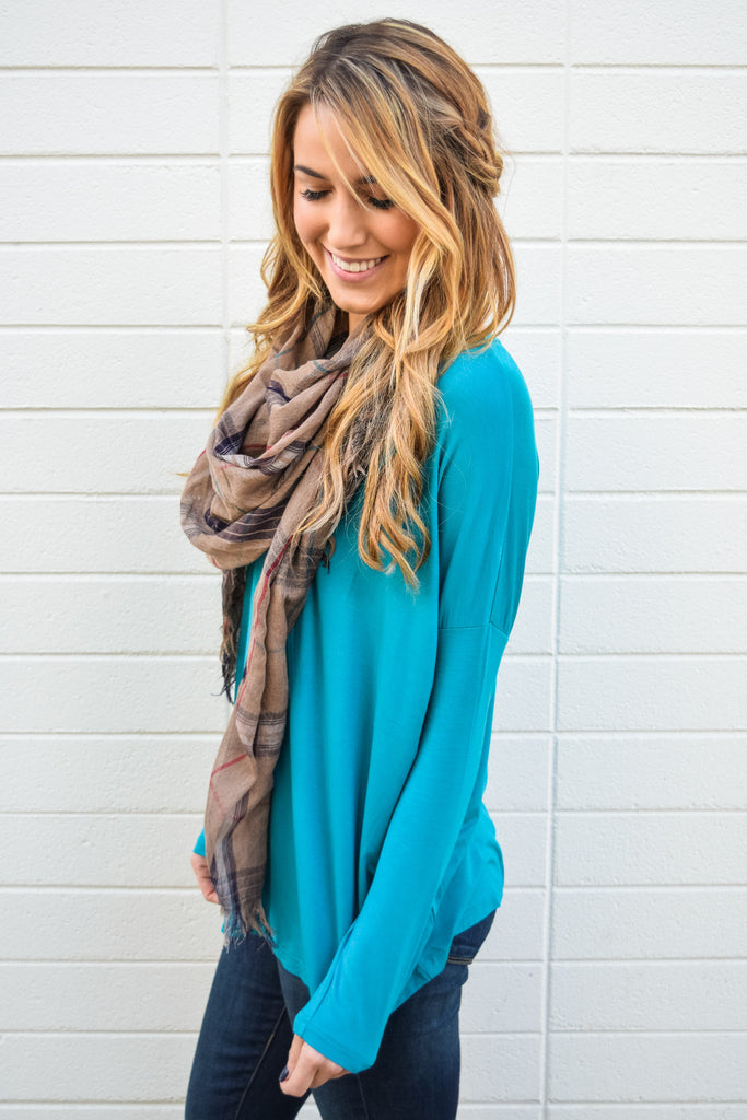 Womens Boutique love to lounge long sleeve top teal
