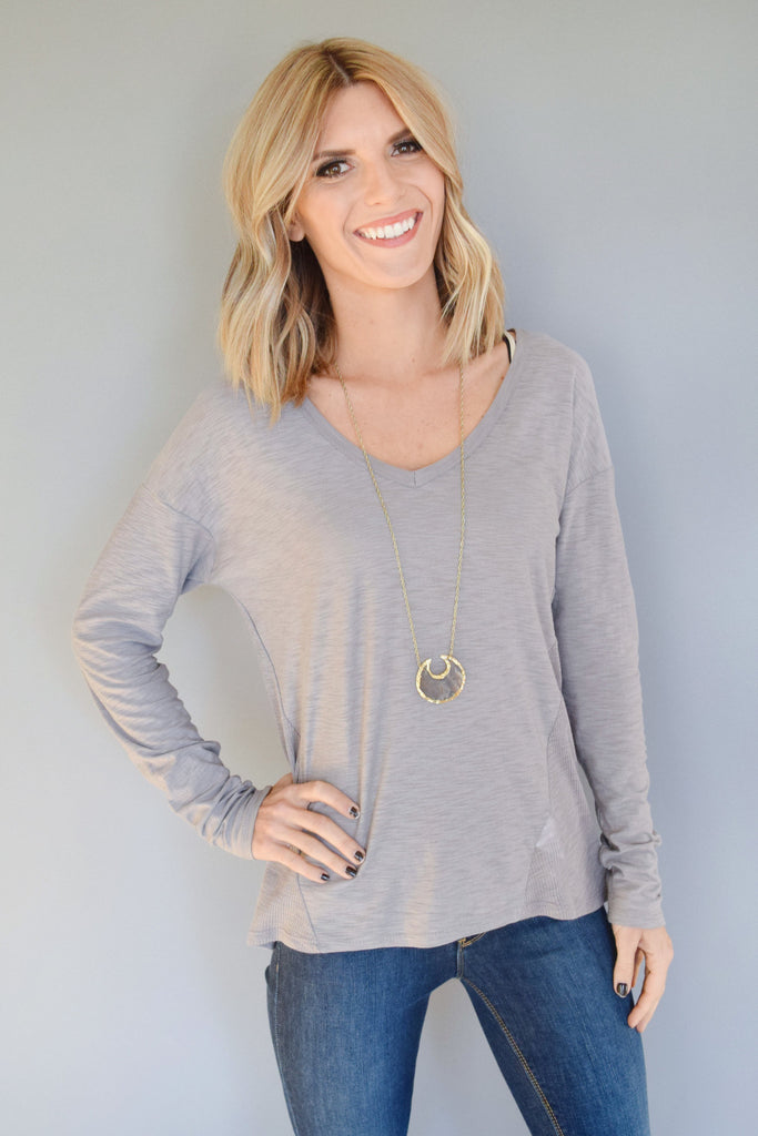 Womens Boutique Mountain Ridge Long Sleeve Tee Grey