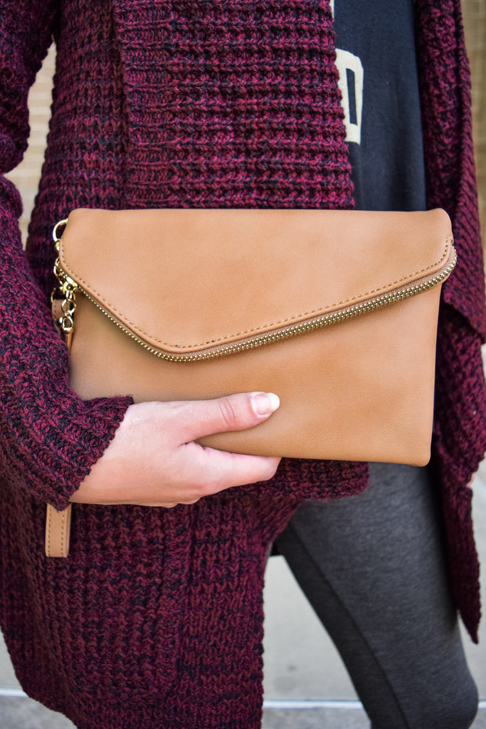 Affordable Ibiza Tan Zippered Clutch