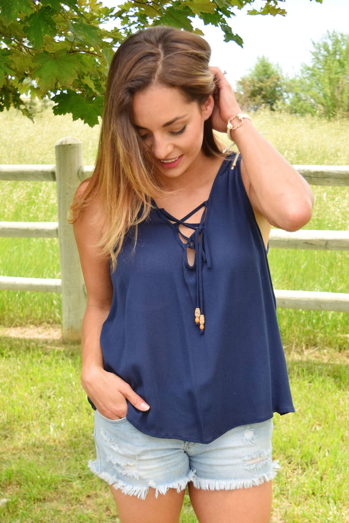 Cute Online forest trail lace up top navy