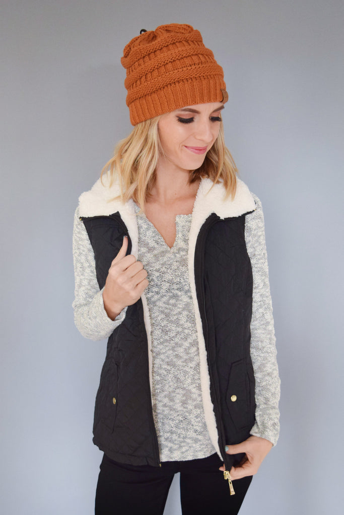 Trendy Online Shearling Quilted Vest Black