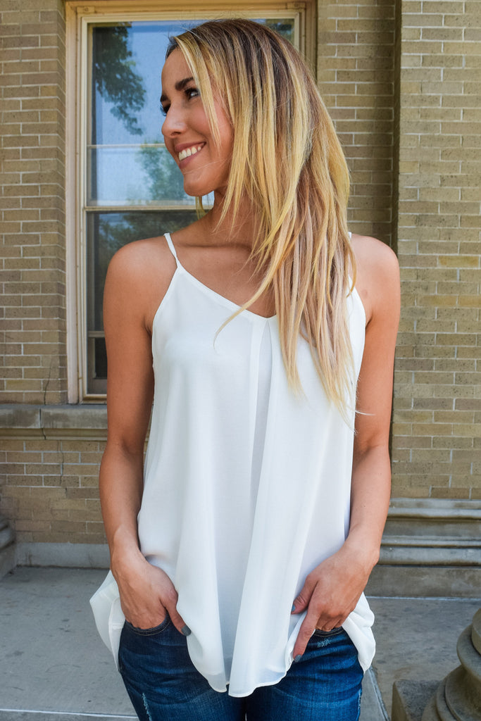 Chic white cut out cami tank
