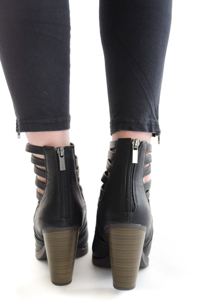 Mile High Strappy Booties Black