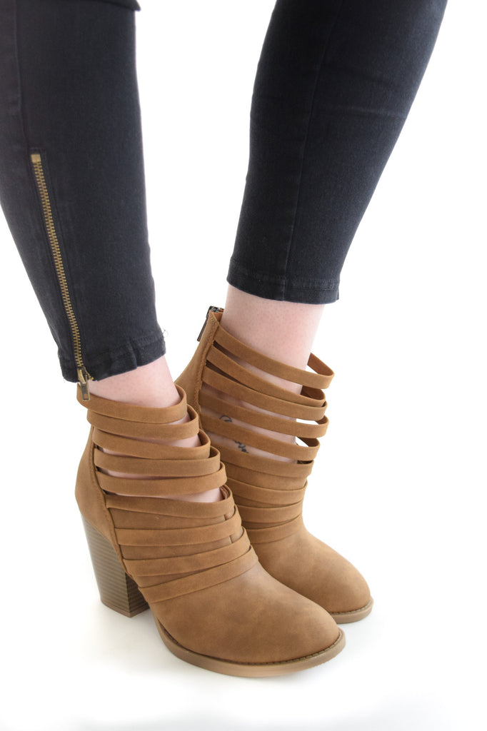 Mile High Strappy Booties Tan