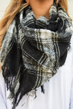 Womens Boutique Northwest Plaid Woven Scarf Black