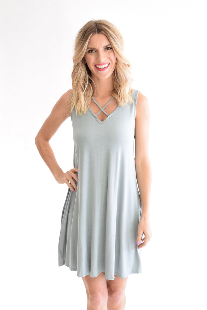 Criss-Cross Dress In Sage