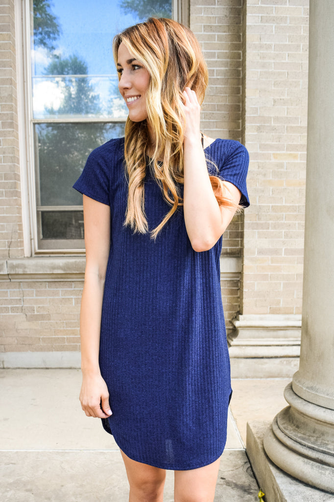 Womens Clothing Navy Ribbed Dress