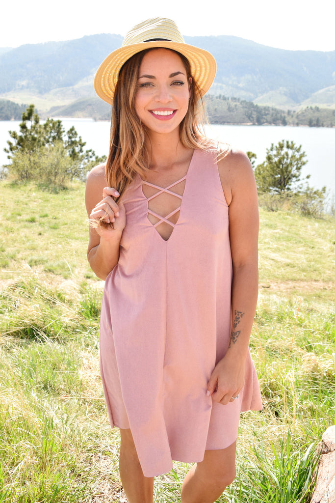 Womens Online winding road lace up dress rose