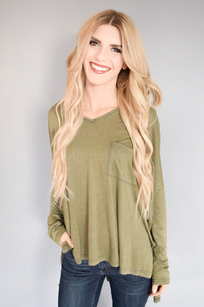 Cute Online Pocket Tee Long Sleeve Olive