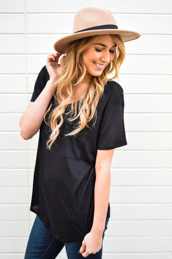 Affordable Online scoop neck boyfriend tee black