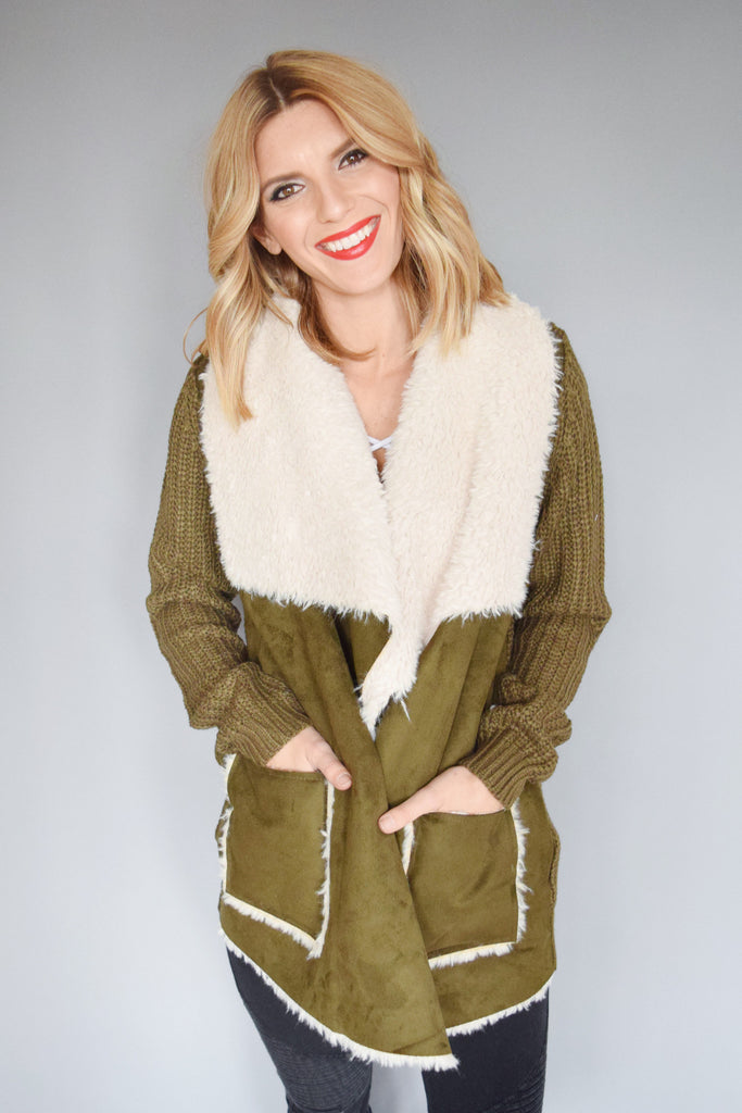 Womens Clothing Faux Shearling Knit Jacket