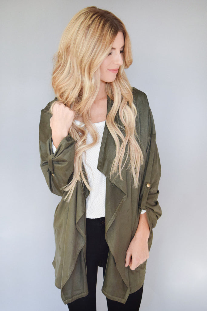 Colorado Chic Waterfall Open Jacket Olive